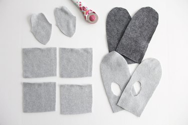cut out mitten pattern pieces as instructed
