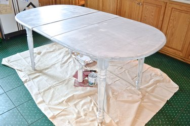 Cheap table with two coats of primer