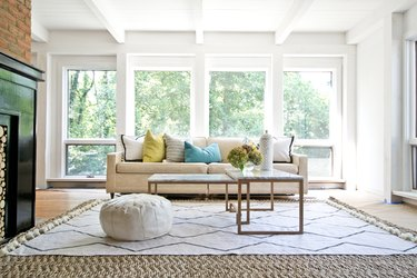 Completed drop cloth rug in living room interior