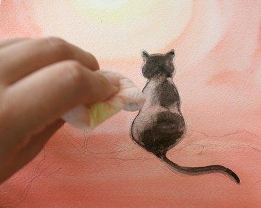 Lift paint along left side of cat.