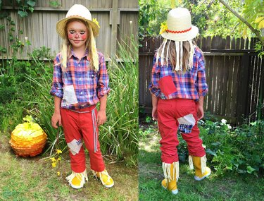 Finished scarecrow costume, front and back.