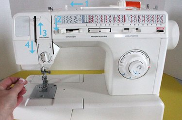 Diagram of how to thread a sewing machine.