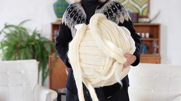use 8 pound jumbo chunky yarn