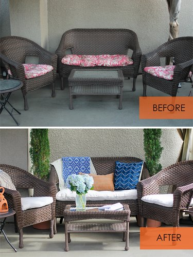 Before and after of patio cushions covered with canvas drop cloth
