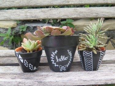 chalkboard patterned terra cotta pots
