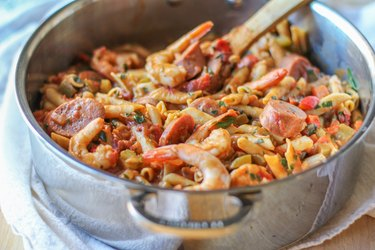 Saucepan of Shrimp Gumbo Pasta