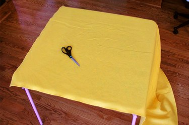 Golden felt on the table.