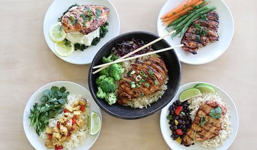 Five plated chicken entrees