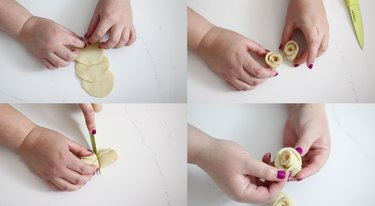 Creating a rose shape with dough