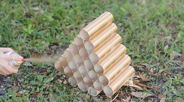 Spray painting pipes gold