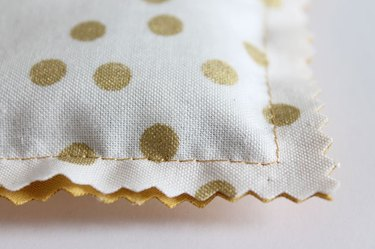 Close up of trimmed sachet.