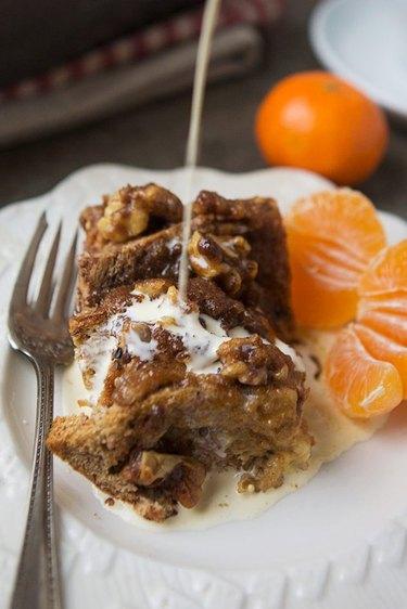 Make-ahead cinnamon roll French toast bake