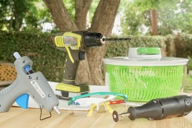 Tools and materials on an outdoor table