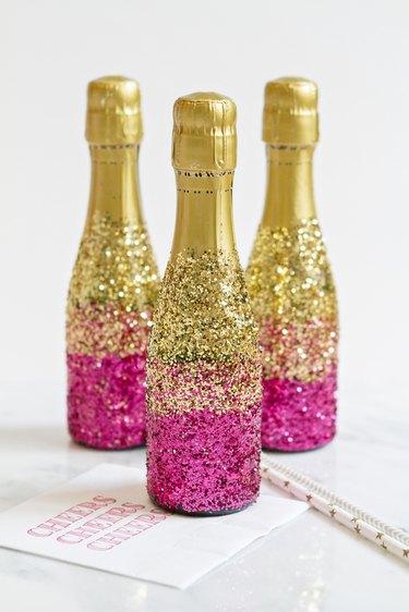 Three finished mini-champgane bottles.