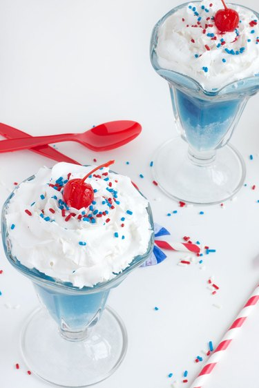 Red, white and blue ice cream floats
