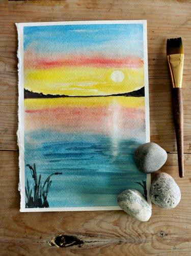 Sunset watercolor scene