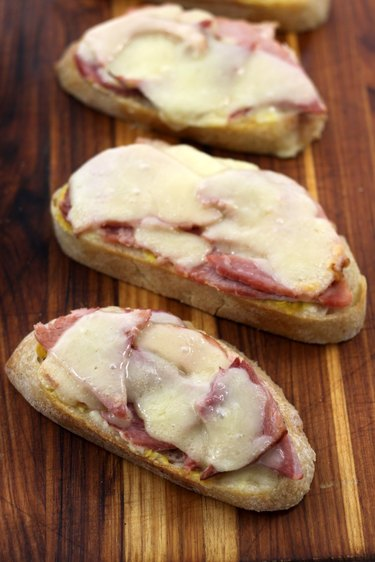 melted ham and cheese sandwiches