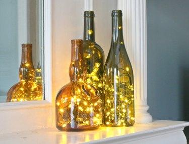 Wine bottle light decor