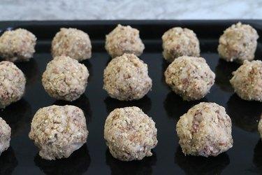Vegan meatballs before baking