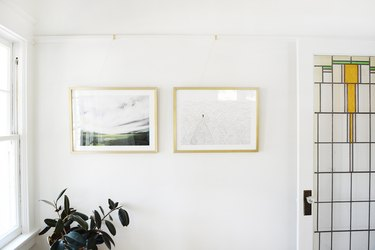 pictures hung on picture rail