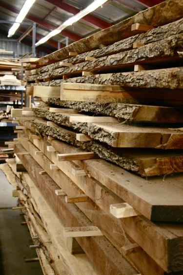 live edge wood slabs in lumber yard