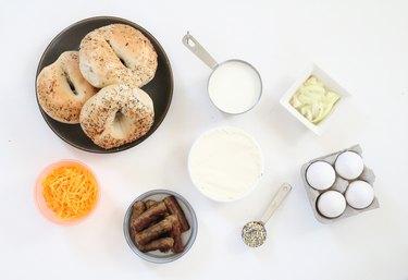 Ingredients for everything bagel breakfast strata