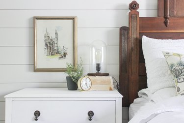 Industrial wooden lamp on bedside table