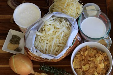 Ingredients for cheesy potato casserole