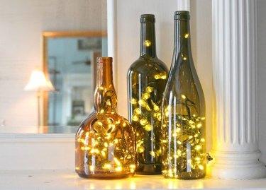 Wine bottles and lights.