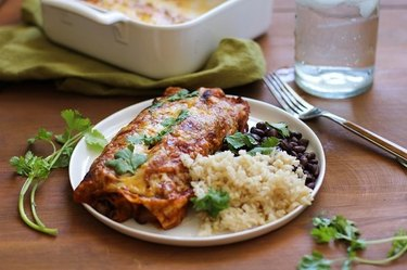 Sweet potato and bean enchilada