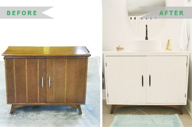 Before and after photo of a dresser turned bath vanity