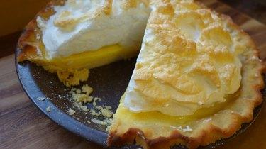 Lemon meringue pie with gluten-free, low-carb coconut flour rolled pie crust.