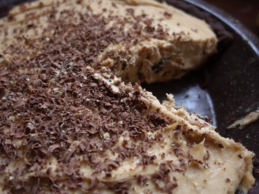 Gluten-free low-carb chocolate almond no-bake pie crust used for peanut butter cream cheese pie