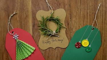 DIY Christmas tree gift tag, button ornament tags, and rosemary wreath tag.