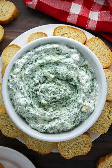 Serve spinach dip with baguette.
