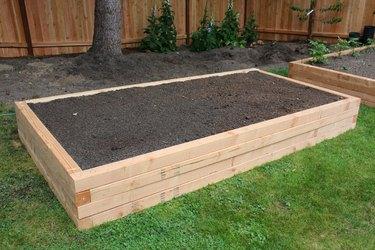 Raised garden bed with garden soil