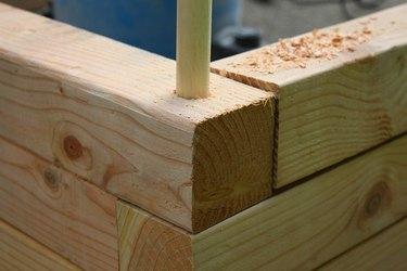 Placing wood dowel in corner