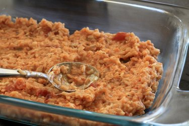 Rice mixture in casserole dish