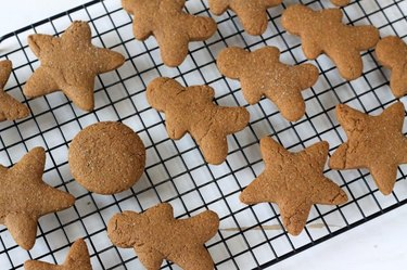 Gingerbread cookies of many shapes and themes.