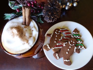 Gluten-free, low-carb, gingerbread cookies on a table with eggnog.