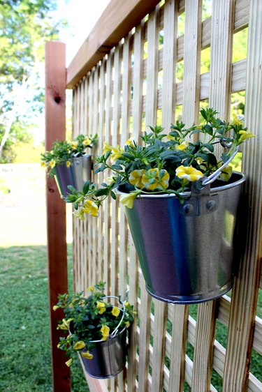 galvanized paint cans make great flower buckets
