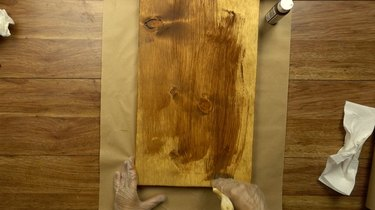 Staining wood for DIY chalkboard serving tray.