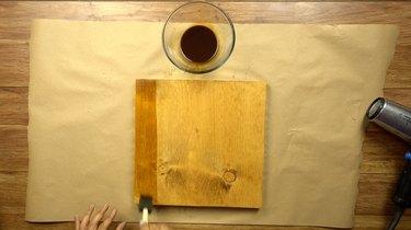 Applying second coat of DIY easy coffee wood stain.