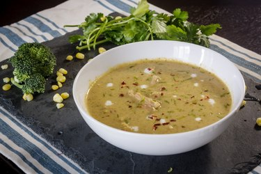 Green Curry Inspired Broccoli Chicken Soup
