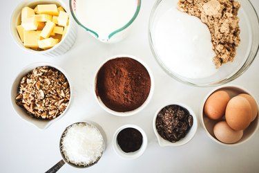 Ingredients measured out in individual bowls.