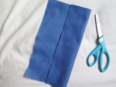 Folding one side of the felt 2.5-in inward.