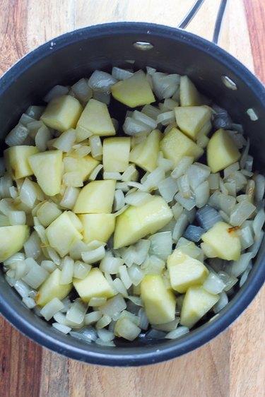 Sautéed apples and onions.