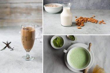 iced coffee, almond milk, matcha latte.
