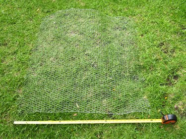 A 36 by 36 inch square cut from chicken wire.