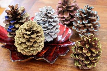 Glittered pinecones